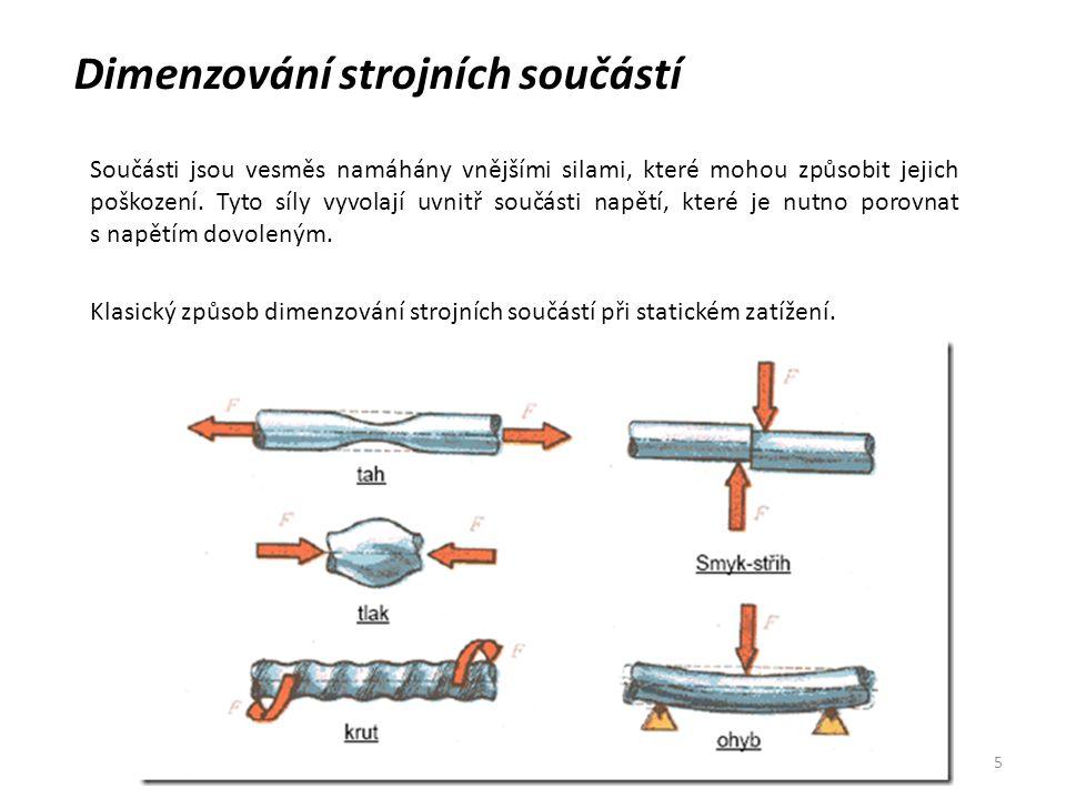 5 Dimenzování strojních součástí Součásti jsou vesměs namáhány vnějšími silami, které mohou způsobit jejich poškození. Tyto síly vyvolají uvnitř součá