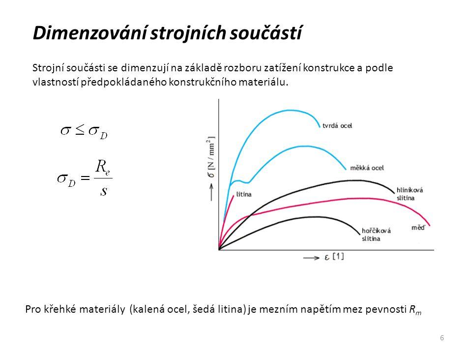 6 Dimenzování strojních součástí Strojní součásti se dimenzují na základě rozboru zatížení konstrukce a podle vlastností předpokládaného konstrukčního