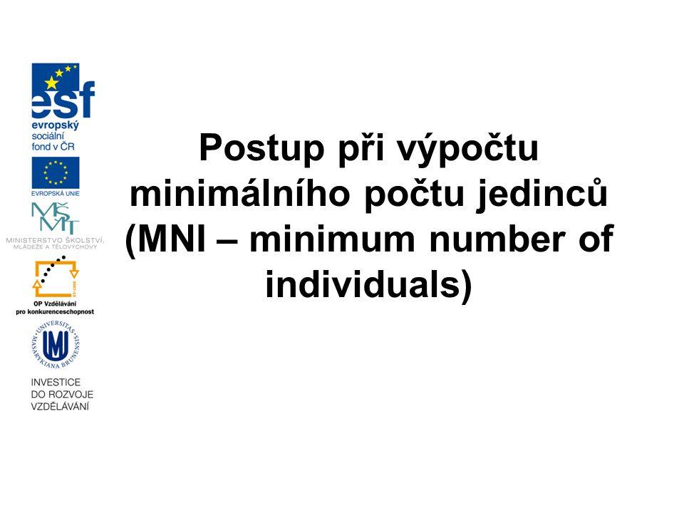 Postup při výpočtu minimálního počtu jedinců (MNI – minimum number of individuals)