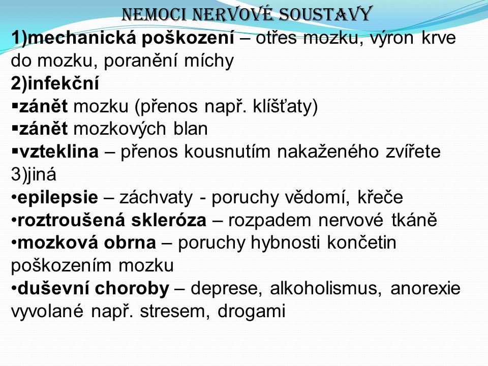 Nemoci nervové soustavy 1)mechanická poškození – otřes mozku, výron krve do mozku, poranění míchy 2)infekční  zánět mozku (přenos např.