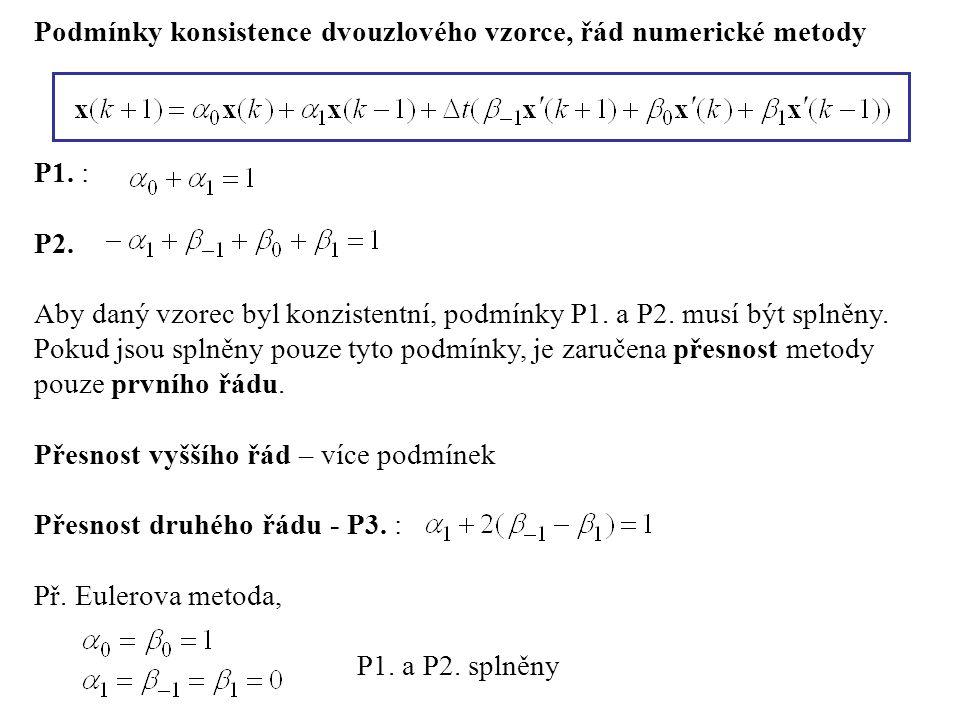 Podmínky konsistence dvouzlového vzorce, řád numerické metody P1.