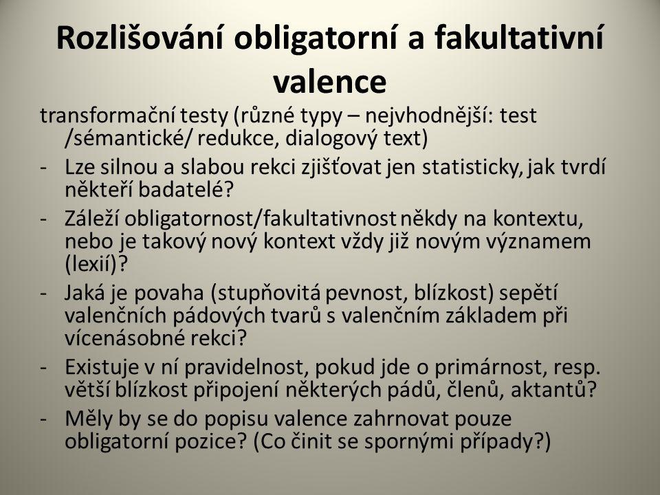 Rozlišování obligatorní a fakultativní valence transformační testy (různé typy – nejvhodnější: test /sémantické/ redukce, dialogový text) -Lze silnou a slabou rekci zjišťovat jen statisticky, jak tvrdí někteří badatelé.