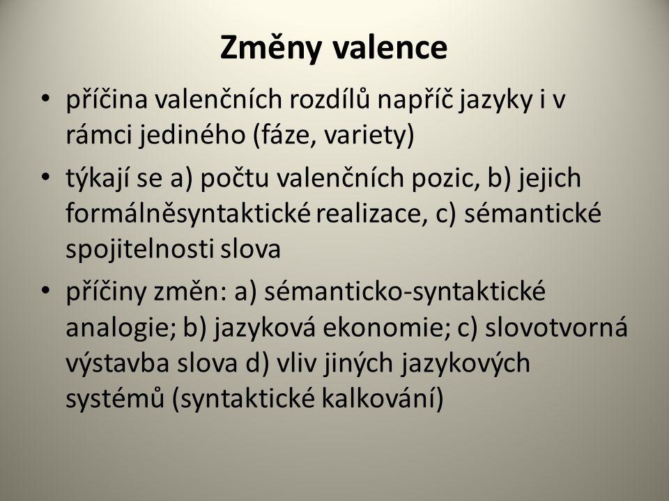 Změny valence příčina valenčních rozdílů napříč jazyky i v rámci jediného (fáze, variety) týkají se a) počtu valenčních pozic, b) jejich formálněsyntaktické realizace, c) sémantické spojitelnosti slova příčiny změn: a) sémanticko-syntaktické analogie; b) jazyková ekonomie; c) slovotvorná výstavba slova d) vliv jiných jazykových systémů (syntaktické kalkování)