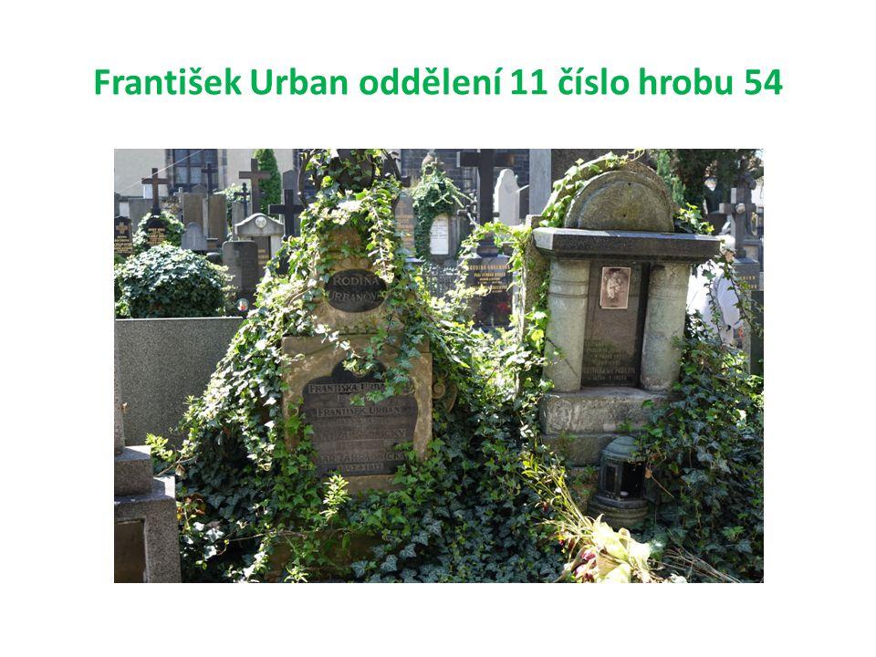 František Urban oddělení 11 číslo hrobu 54