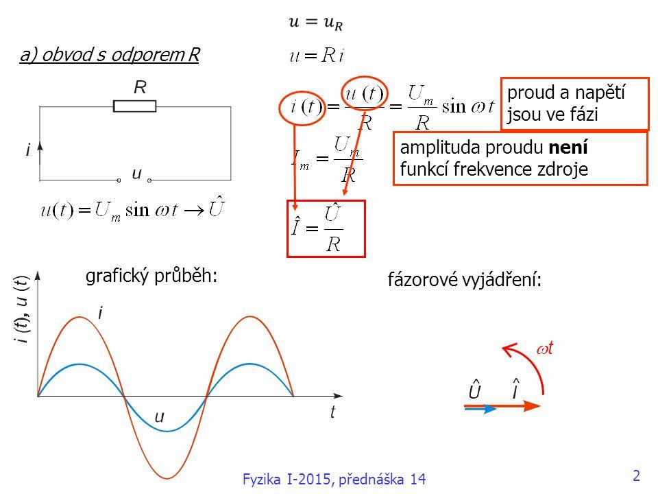 b) obvod s indukčností L amplituda proudu je funkcí frekvence zdroje; induktivní reaktance induktance grafický průběh: fázorové vyjádření: proud se zpožďuje ve fázi za napětím o  /2 tt 3 Fyzika I-2015, přednáška 14