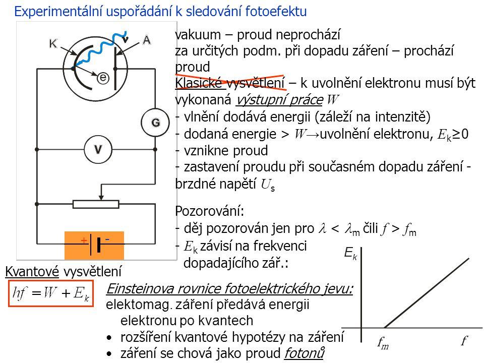 Experimentální uspořádání k sledování fotoefektu Kvantové vysvětlení Einsteinova rovnice fotoelektrického jevu: elektomag.