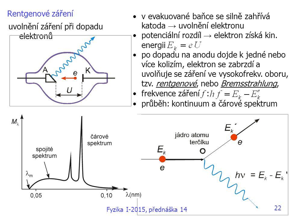 Rentgenové záření uvolnění záření při dopadu elektronů v evakuované baňce se silně zahřívá katoda → uvolnění elektronu potenciální rozdíl → elektron získá kin.