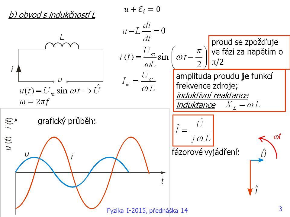 c) obvod s kapacitou C amplituda proudu je funkcí frekvence zdroje; kapacitní reaktance kapacitance grafický průběh: fázorové vyjádření: proud se předbíhá ve fázi před napětím o  /2 4 Fyzika I-2015, přednáška 14