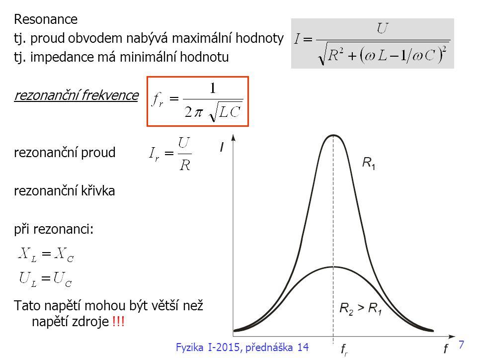 Resonance tj.proud obvodem nabývá maximální hodnoty tj.