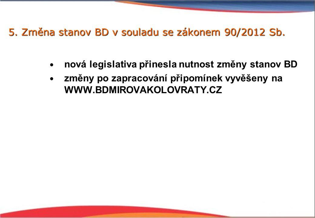 5. Změna stanov BD v souladu se zákonem 90/2012 Sb.