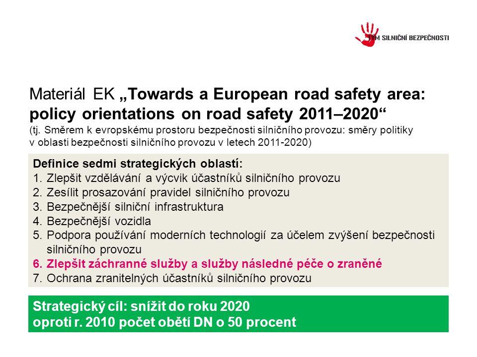 Definice sedmi strategických oblastí: 1.Zlepšit vzdělávání a výcvik účastníků silničního provozu 2.Zesílit prosazování pravidel silničního provozu 3.Bezpečnější silniční infrastruktura 4.Bezpečnější vozidla 5.Podpora používání moderních technologií za účelem zvýšení bezpečnosti silničního provozu 6.Zlepšit záchranné služby a služby následné péče o zraněné 7.Ochrana zranitelných účastníků silničního provozu Strategický cíl: snížit do roku 2020 oproti r.
