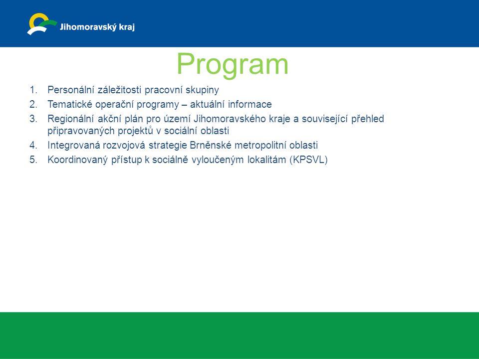 Program 1.Personální záležitosti pracovní skupiny 2.Tematické operační programy – aktuální informace 3.Regionální akční plán pro území Jihomoravského
