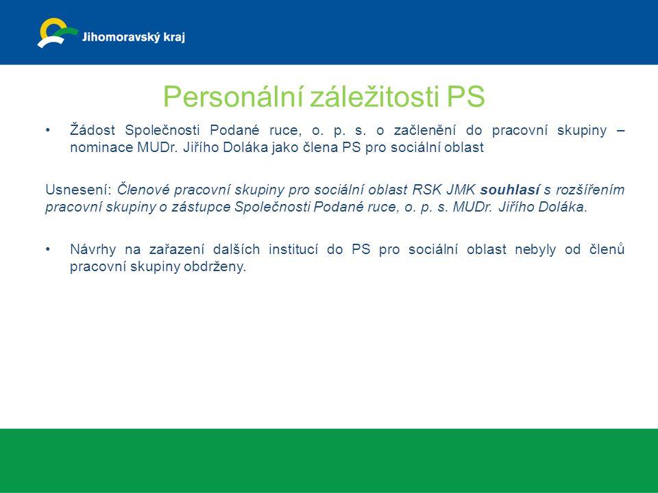 Personální záležitosti PS Žádost Společnosti Podané ruce, o. p. s. o začlenění do pracovní skupiny – nominace MUDr. Jiřího Doláka jako člena PS pro so