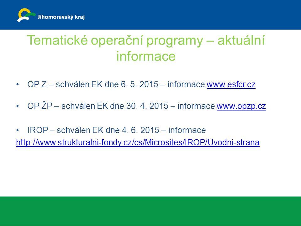 Tematické operační programy – aktuální informace OP Z – schválen EK dne 6. 5. 2015 – informace www.esfcr.czwww.esfcr.cz OP ŽP – schválen EK dne 30. 4.