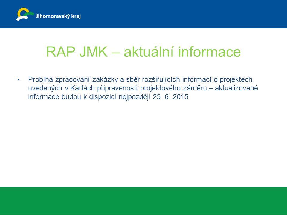 RAP JMK – aktuální informace Probíhá zpracování zakázky a sběr rozšiřujících informací o projektech uvedených v Kartách připravenosti projektového zám