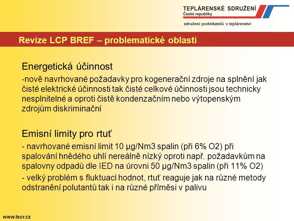 sdružení podnikatelů v teplárenství www.tscr.cz Revize LCP BREF – problematické oblasti Energetická účinnost -nově navrhované požadavky pro kogeneračn