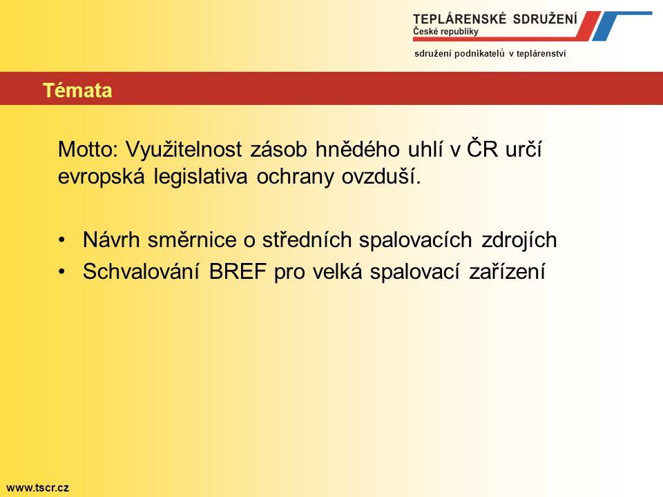 sdružení podnikatelů v teplárenství www.tscr.cz Témata Motto: Využitelnost zásob hnědého uhlí v ČR určí evropská legislativa ochrany ovzduší. Návrh sm