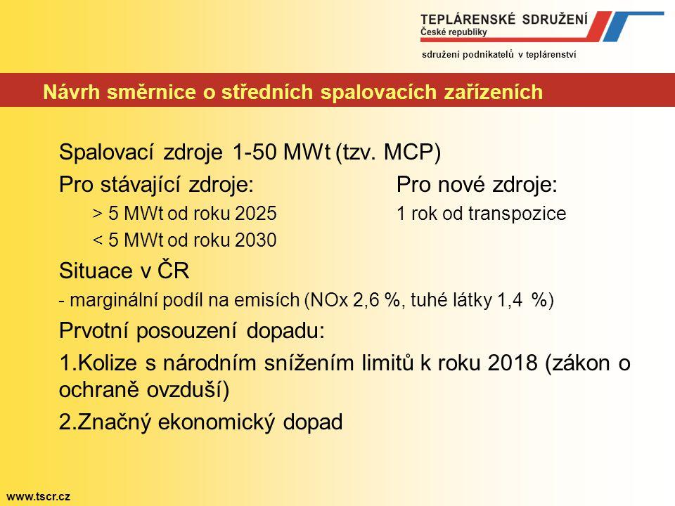 sdružení podnikatelů v teplárenství www.tscr.cz Návrh směrnice o středních spalovacích zařízeních Spalovací zdroje 1-50 MWt (tzv. MCP) Pro stávající z