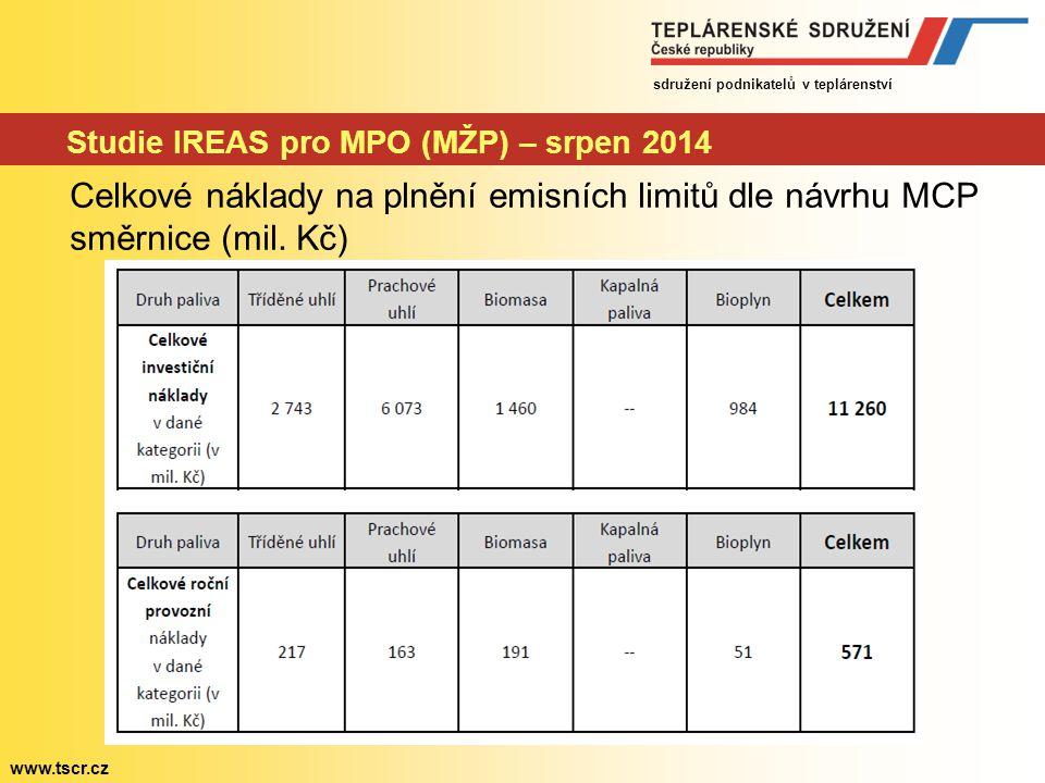 sdružení podnikatelů v teplárenství www.tscr.cz Návrh MCP směrnice – schvalování v Evropské radě Návrh intenzivně projednáván během 2014 – 8 textů Schválení stanoviska Rady v prosinci 2014 Úprava textu navrženého Komisí: 1.Úprava navržených emisních limitů 2.Doplnění přechodných režimů – pro teplárenské zdroje a pro dožívající zdroje (obdoba s IED) 3.Rozšíření režimu pro špičkové zdroje (do 1000h/rok 5- ti letý průměr)
