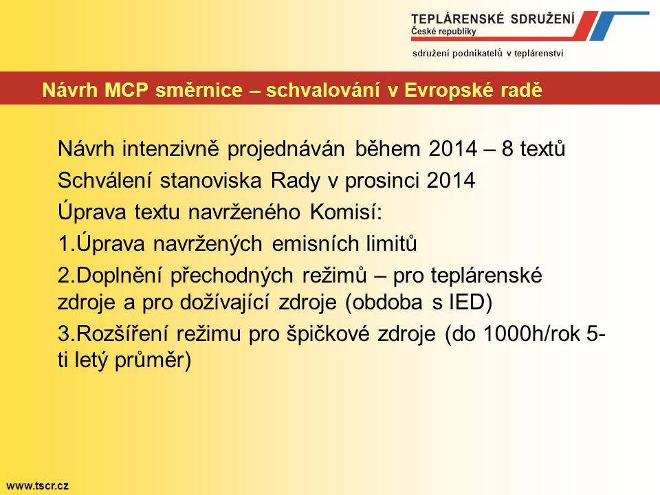 sdružení podnikatelů v teplárenství www.tscr.cz Návrh MCP směrnice – schvalování v Evropské radě Návrh intenzivně projednáván během 2014 – 8 textů Sch
