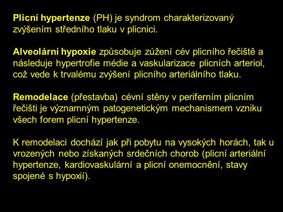 Plicní hypertenze (PH) je syndrom charakterizovaný zvýšením středního tlaku v plicnici. Alveolární hypoxie způsobuje zúžení cév plicního řečiště a nás