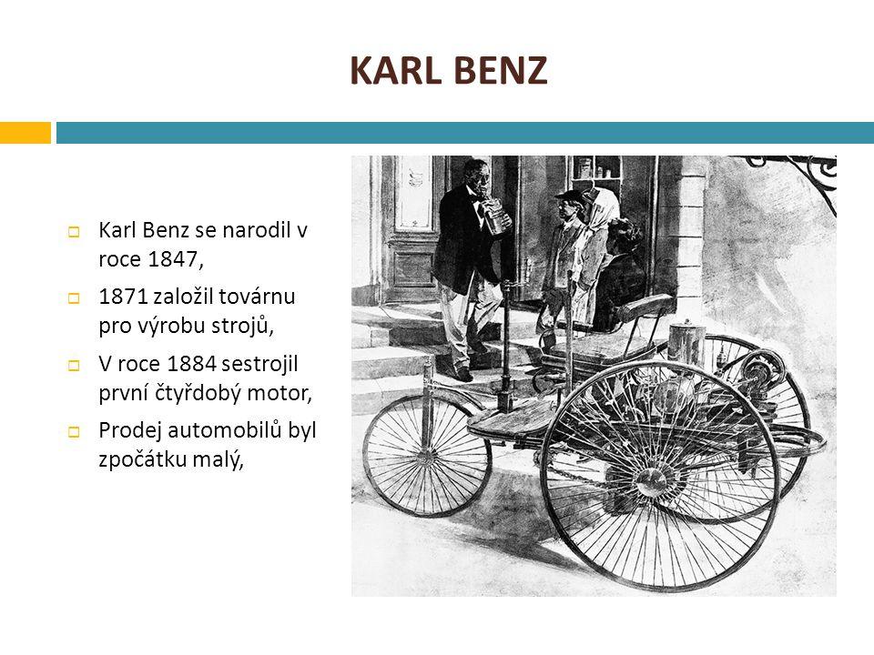 KARL BENZ  Karl Benz se narodil v roce 1847,  1871 založil továrnu pro výrobu strojů,  V roce 1884 sestrojil první čtyřdobý motor,  Prodej automob