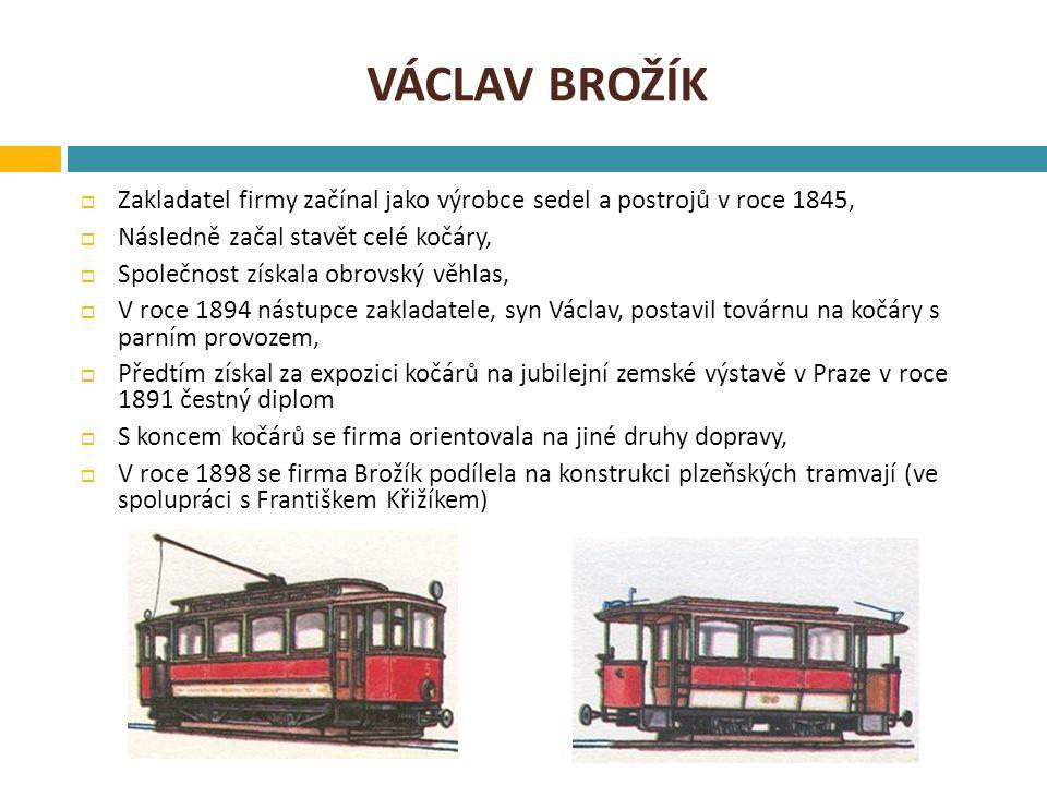 VÁCLAV BROŽÍK  Zakladatel firmy začínal jako výrobce sedel a postrojů v roce 1845,  Následně začal stavět celé kočáry,  Společnost získala obrovský věhlas,  V roce 1894 nástupce zakladatele, syn Václav, postavil továrnu na kočáry s parním provozem,  Předtím získal za expozici kočárů na jubilejní zemské výstavě v Praze v roce 1891 čestný diplom  S koncem kočárů se firma orientovala na jiné druhy dopravy,  V roce 1898 se firma Brožík podílela na konstrukci plzeňských tramvají (ve spolupráci s Františkem Křižíkem)