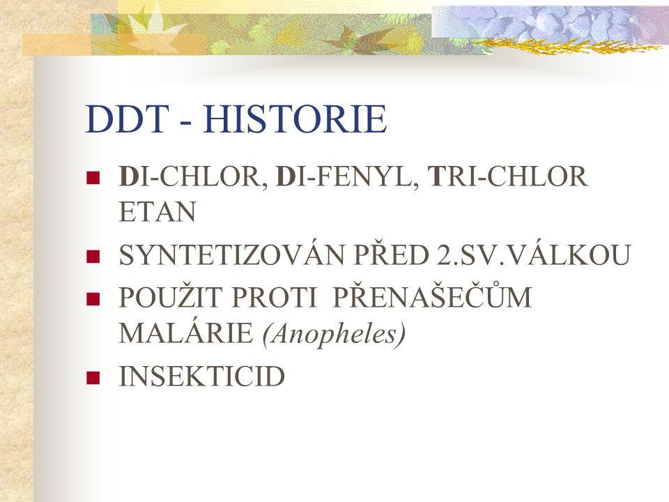 DDT - HISTORIE DI-CHLOR, DI-FENYL, TRI-CHLOR ETAN SYNTETIZOVÁN PŘED 2.SV.VÁLKOU POUŽIT PROTI PŘENAŠEČŮM MALÁRIE (Anopheles) INSEKTICID