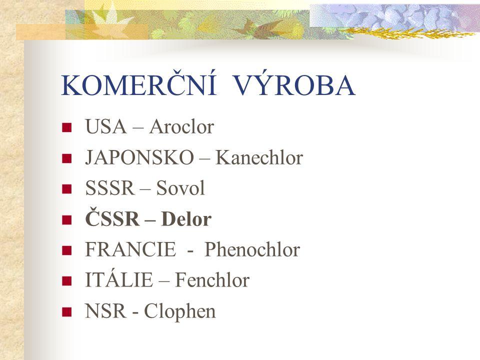 KOMERČNÍ VÝROBA USA – Aroclor JAPONSKO – Kanechlor SSSR – Sovol ČSSR – Delor FRANCIE - Phenochlor ITÁLIE – Fenchlor NSR - Clophen
