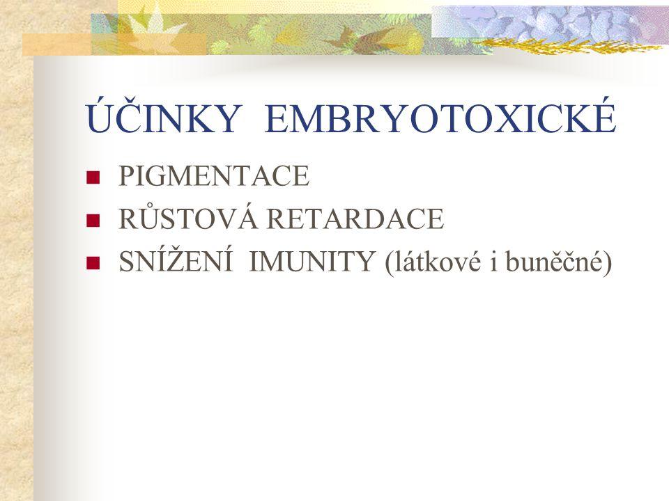 ÚČINKY EMBRYOTOXICKÉ PIGMENTACE RŮSTOVÁ RETARDACE SNÍŽENÍ IMUNITY (látkové i buněčné)