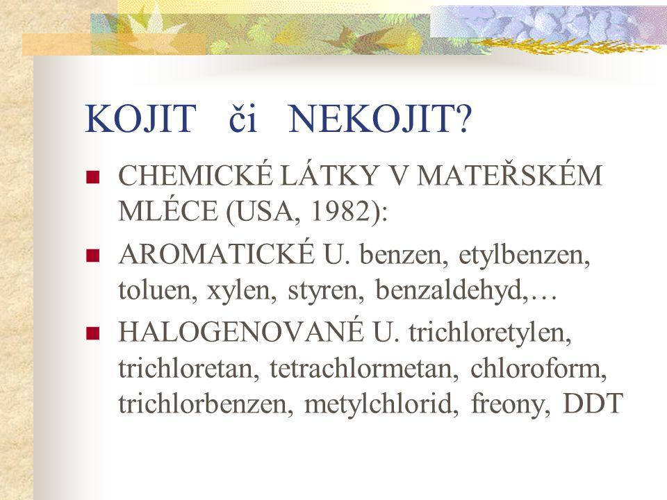 KOJIT či NEKOJIT? CHEMICKÉ LÁTKY V MATEŘSKÉM MLÉCE (USA, 1982): AROMATICKÉ U. benzen, etylbenzen, toluen, xylen, styren, benzaldehyd,… HALOGENOVANÉ U.