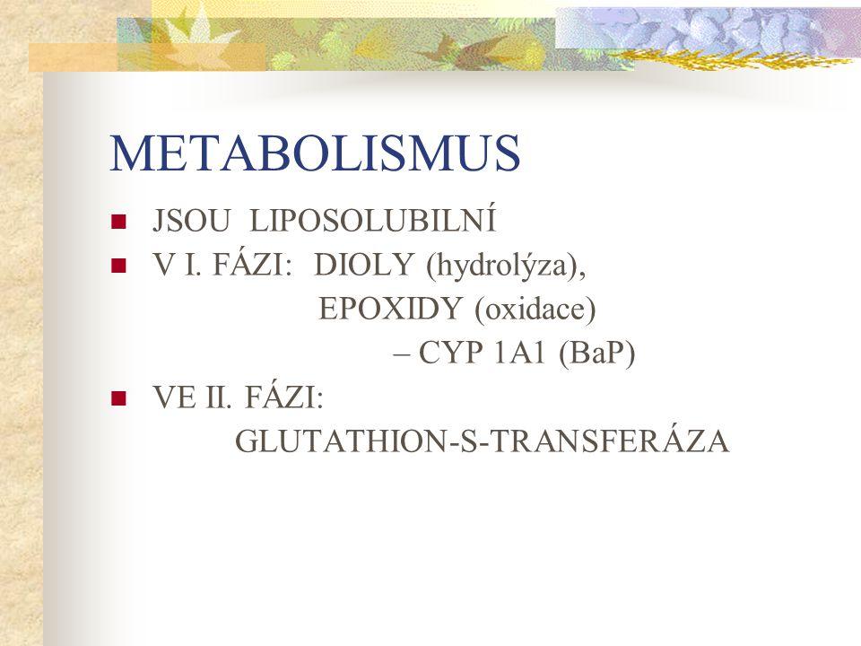 METABOLISMUS JSOU LIPOSOLUBILNÍ V I. FÁZI: DIOLY (hydrolýza), EPOXIDY (oxidace) – CYP 1A1 (BaP) VE II. FÁZI: GLUTATHION-S-TRANSFERÁZA