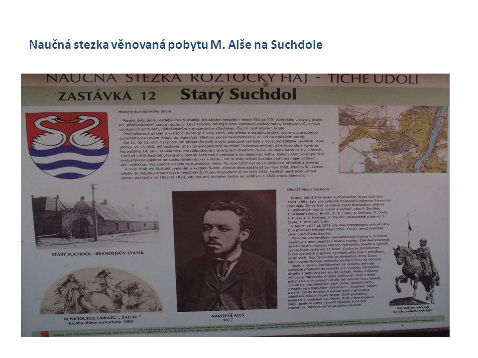 Naučná stezka věnovaná pobytu M. Alše na Suchdole