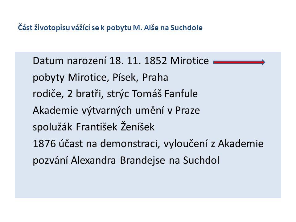 Část životopisu vážící se k pobytu M. Alše na Suchdole Datum narození 18. 11. 1852 Mirotice pobyty Mirotice, Písek, Praha rodiče, 2 bratři, strýc Tomá