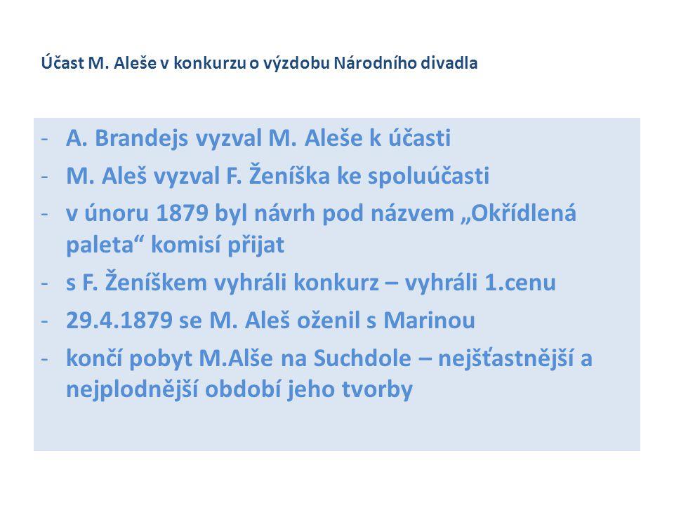 Účast M. Aleše v konkurzu o výzdobu Národního divadla -A. Brandejs vyzval M. Aleše k účasti -M. Aleš vyzval F. Ženíška ke spoluúčasti -v únoru 1879 by