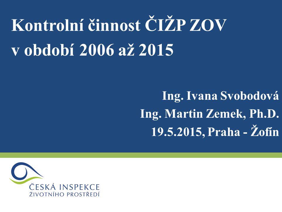 Kontrolní činnost ČIŽP ZOV v období 2006 až 2015 Ing.