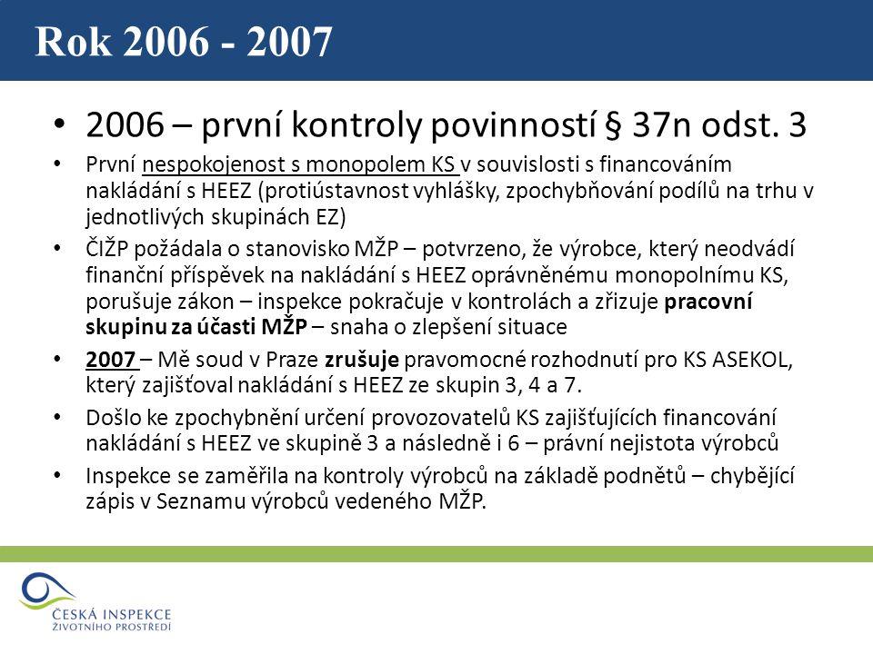 Rok 2006 - 2007 2006 – první kontroly povinností § 37n odst.