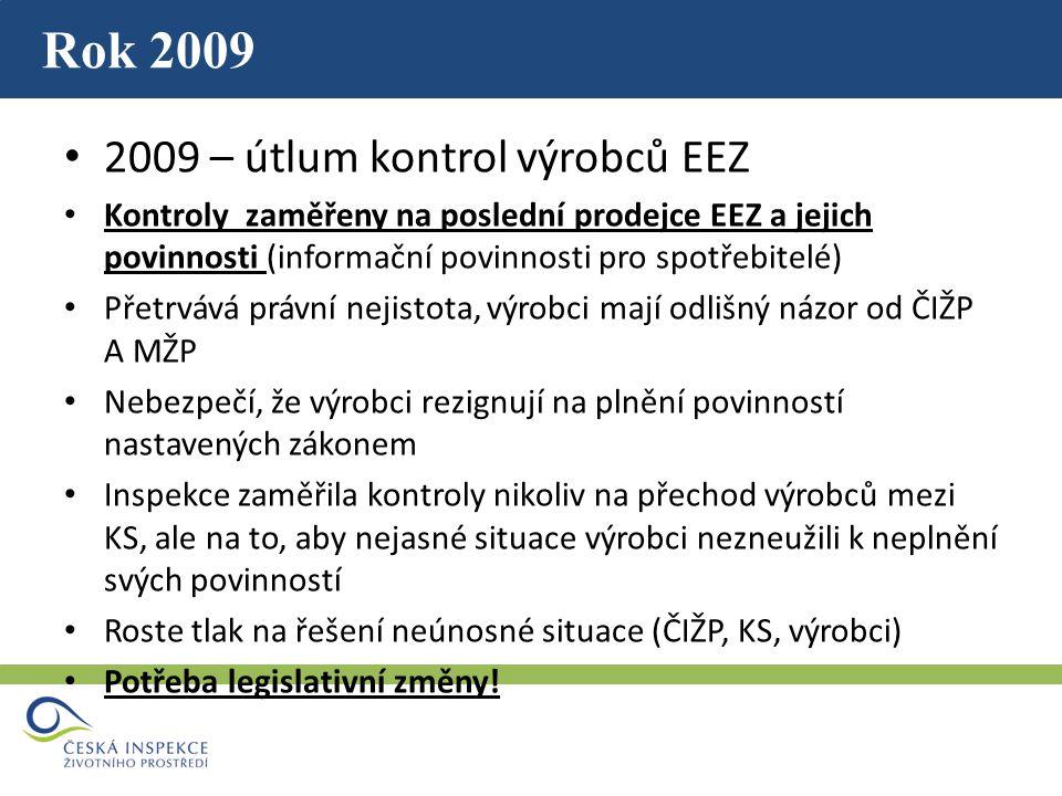Rok 2009 2009 – útlum kontrol výrobců EEZ Kontroly zaměřeny na poslední prodejce EEZ a jejich povinnosti (informační povinnosti pro spotřebitelé) Přetrvává právní nejistota, výrobci mají odlišný názor od ČIŽP A MŽP Nebezpečí, že výrobci rezignují na plnění povinností nastavených zákonem Inspekce zaměřila kontroly nikoliv na přechod výrobců mezi KS, ale na to, aby nejasné situace výrobci nezneužili k neplnění svých povinností Roste tlak na řešení neúnosné situace (ČIŽP, KS, výrobci) Potřeba legislativní změny!