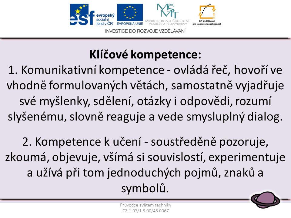 Klíčové kompetence: 1. Komunikativní kompetence - ovládá řeč, hovoří ve vhodně formulovaných větách, samostatně vyjadřuje své myšlenky, sdělení, otázk