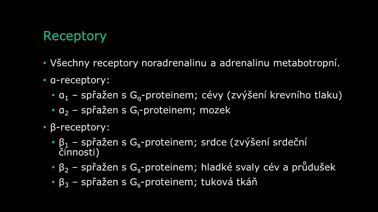 Metabolismus – degradace adrenalinu MAO Adrenalin Nestabilní aldehyd Kyselina vanilmandlová Metanefrin Aldehyd reduktáza Aldehyd dehydrogenáza COMT Al
