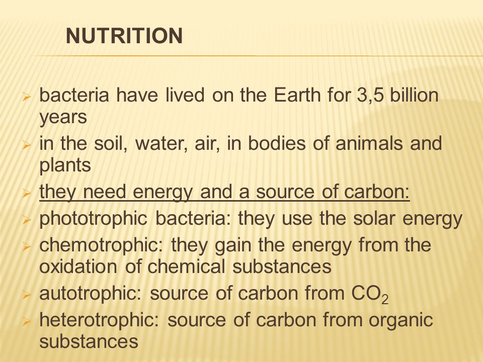  bacteria have lived on the Earth for 3,5 billion years  in the soil, water, air, in bodies of animals and plants  they need energy and a source of carbon:  phototrophic bacteria: they use the solar energy  chemotrophic: they gain the energy from the oxidation of chemical substances  autotrophic: source of carbon from CO 2  heterotrophic: source of carbon from organic substances NUTRITION