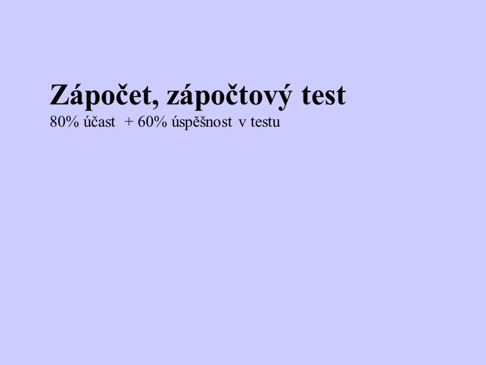 Zápočet, zápočtový test 80% účast + 60% úspěšnost v testu