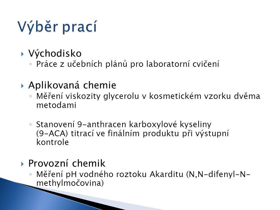  Východisko ◦ Práce z učebních plánů pro laboratorní cvičení  Aplikovaná chemie ◦ Měření viskozity glycerolu v kosmetickém vzorku dvěma metodami ◦ Stanovení 9-anthracen karboxylové kyseliny (9-ACA) titrací ve finálním produktu při výstupní kontrole  Provozní chemik ◦ Měření pH vodného roztoku Akarditu (N,N-difenyl-N- methylmočovina)