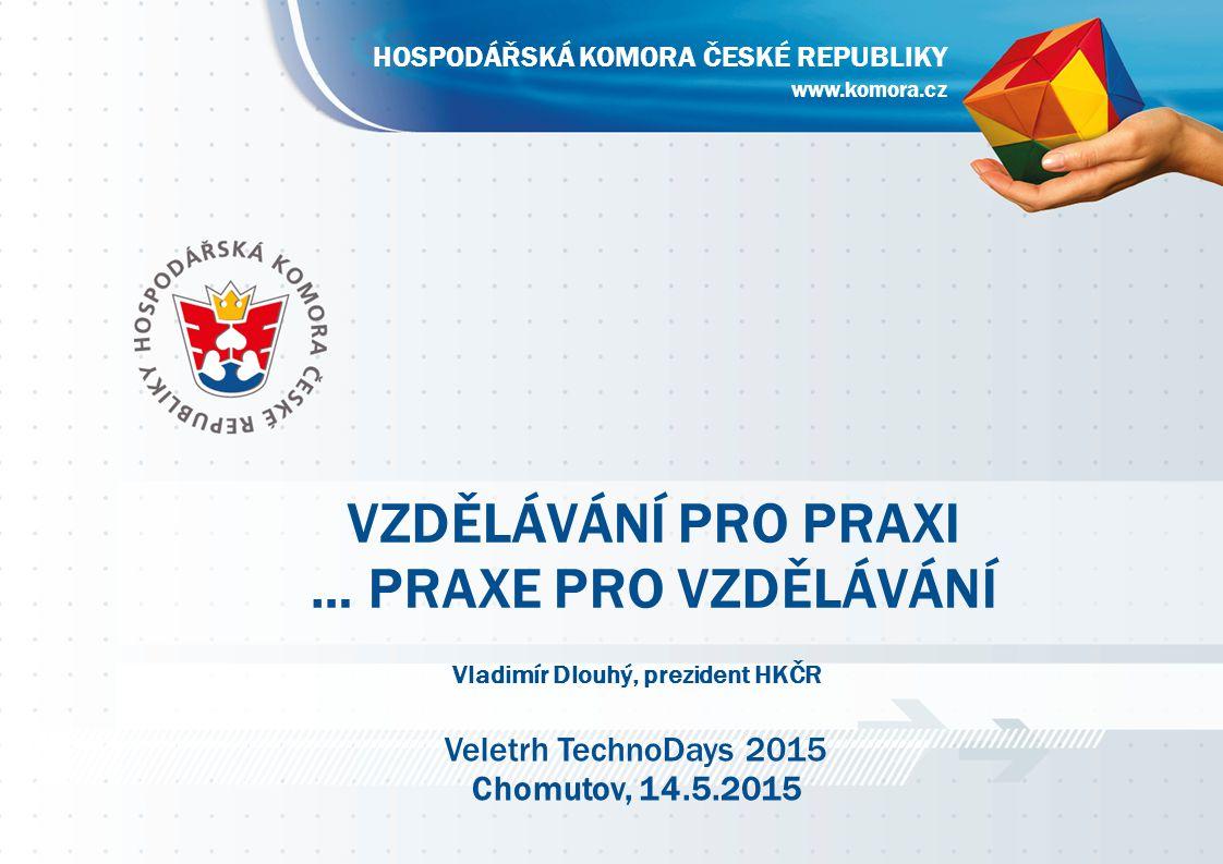 www.komora.cz HOSPODÁŘSKÁ KOMORA ČESKÉ REPUBLIKY VZDĚLÁVÁNÍ PRO PRAXI … PRAXE PRO VZDĚLÁVÁNÍ www.komora.cz HOSPODÁŘSKÁ KOMORA ČESKÉ REPUBLIKY Vladimír Dlouhý, prezident HKČR Veletrh TechnoDays 2015 Chomutov, 14.5.2015