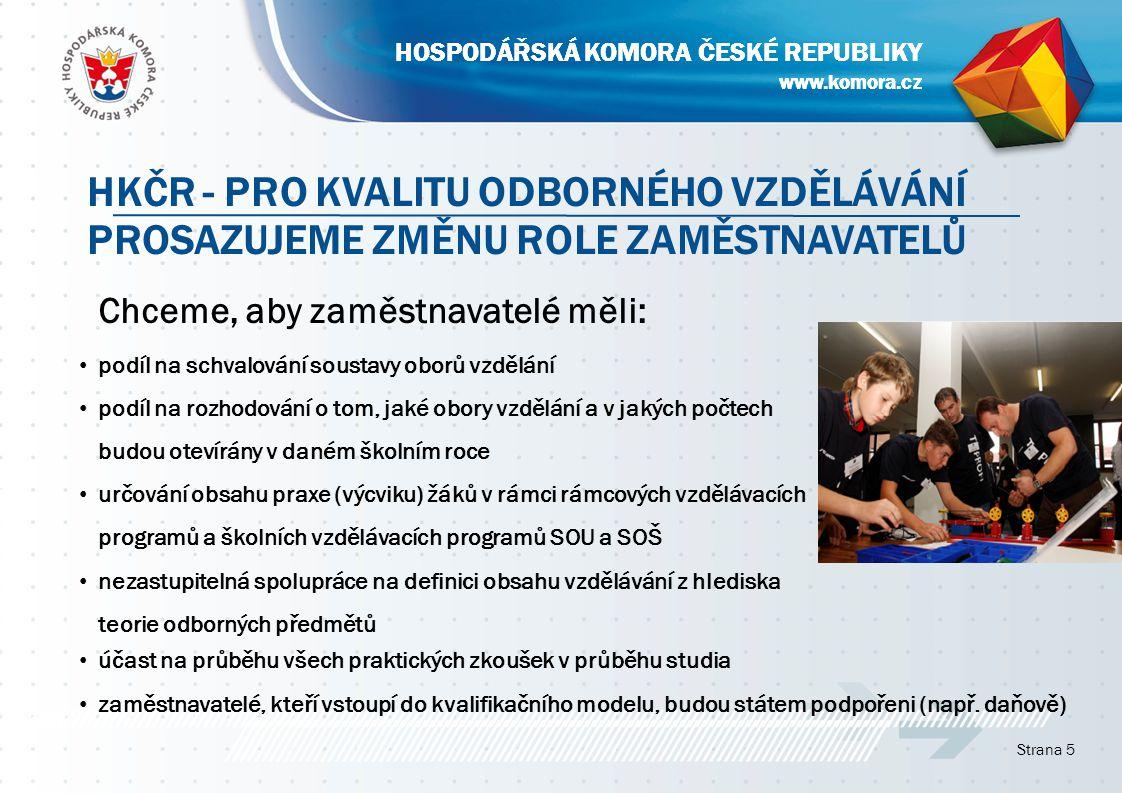 www.komora.cz HOSPODÁŘSKÁ KOMORA ČESKÉ REPUBLIKY účast na průběhu všech praktických zkoušek v průběhu studia zaměstnavatelé, kteří vstoupí do kvalifikačního modelu, budou státem podpořeni (např.