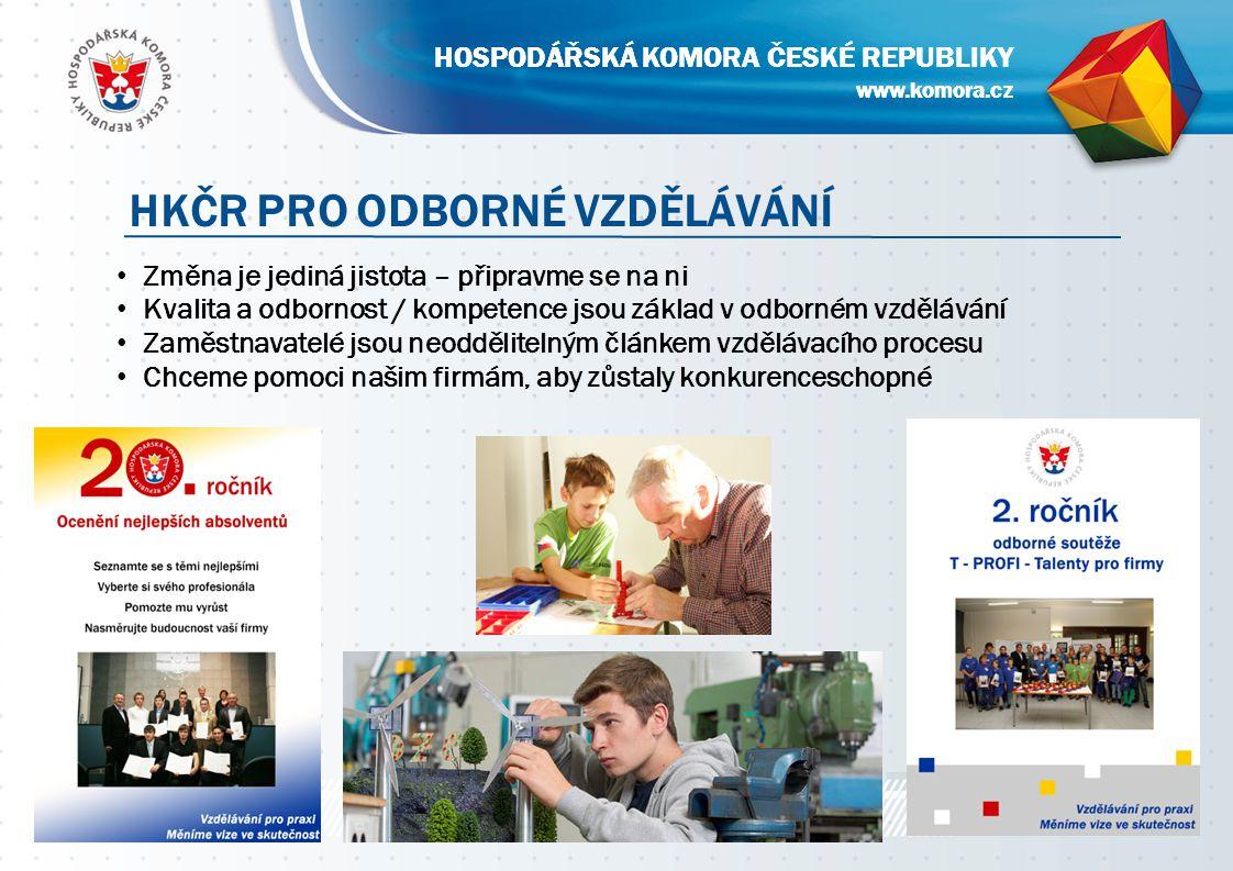 www.komora.cz HOSPODÁŘSKÁ KOMORA ČESKÉ REPUBLIKY Strana 7 HKČR PRO ODBORNÉ VZDĚLÁVÁNÍ www.komora.cz HOSPODÁŘSKÁ KOMORA ČESKÉ REPUBLIKY Změna je jediná jistota – připravme se na ni Kvalita a odbornost / kompetence jsou základ v odborném vzdělávání Zaměstnavatelé jsou neoddělitelným článkem vzdělávacího procesu Chceme pomoci našim firmám, aby zůstaly konkurenceschopné