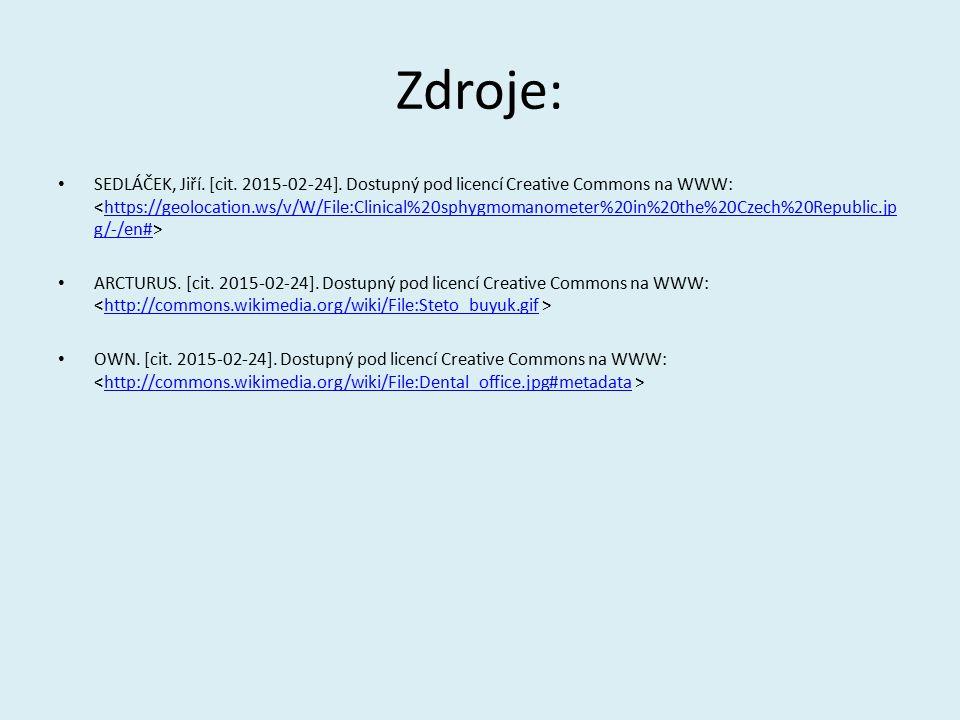 Zdroje: SEDLÁČEK, Jiří. [cit. 2015-02-24]. Dostupný pod licencí Creative Commons na WWW: https://geolocation.ws/v/W/File:Clinical%20sphygmomanometer%2