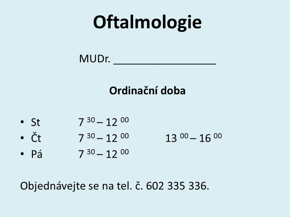 Oftalmologie MUDr.