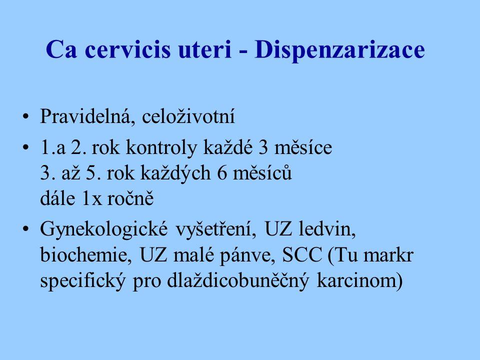 Ca cervicis uteri - Dispenzarizace Pravidelná, celoživotní 1.a 2. rok kontroly každé 3 měsíce 3. až 5. rok každých 6 měsíců dále 1x ročně Gynekologick