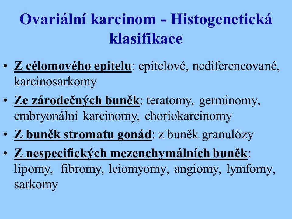 Ovariální karcinom - Histogenetická klasifikace Z célomového epitelu: epitelové, nediferencované, karcinosarkomy Ze zárodečných buněk: teratomy, germi